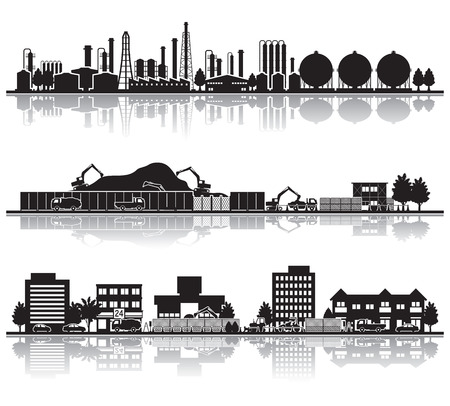 Various city  Construction Illustration