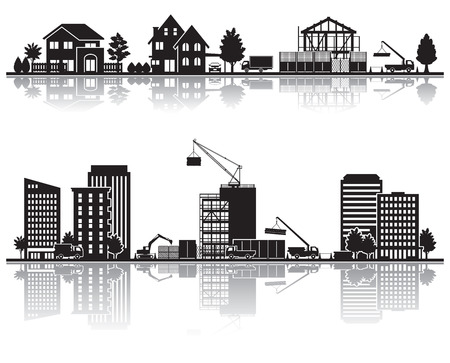 urban redevelopment: Various city  Construction Illustration