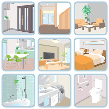 cuarto de ba�o: Interior  Habitaci�n Vectores