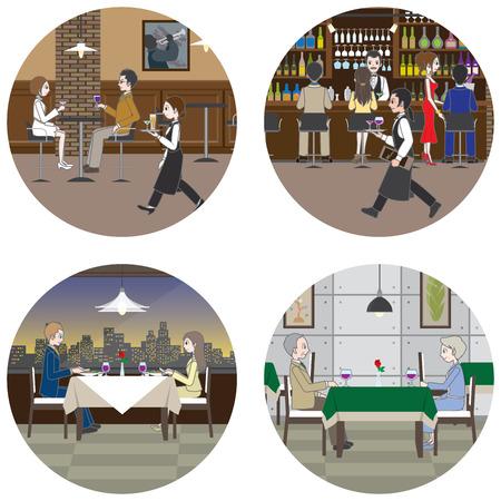 bar counter: Various restaurants  People