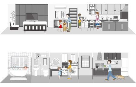 family living room: Living space  Family Illustration