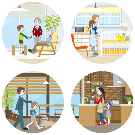 household chores: Living space  Family Illustration