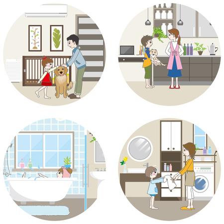 kleedkamer: Leefruimte Family Stock Illustratie