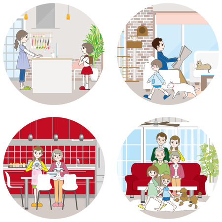 lifestyle dining: Living space  Family Illustration