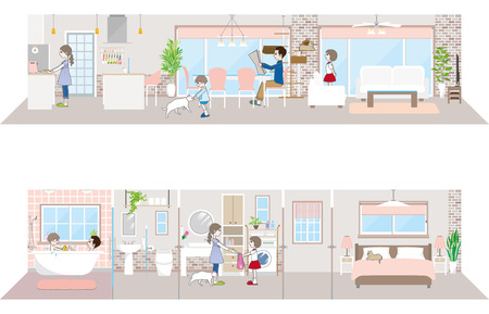 bath room: Living space  Family Illustration