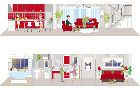 dining table: Living space  Family Illustration
