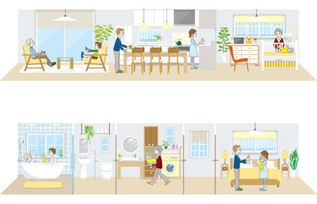 Living space  Family Illustration