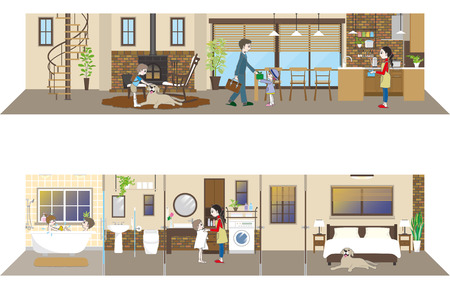 living space: Living space  Family Illustration
