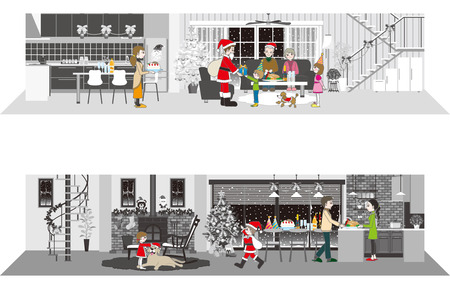 family living room: Living space  Christmas party Illustration