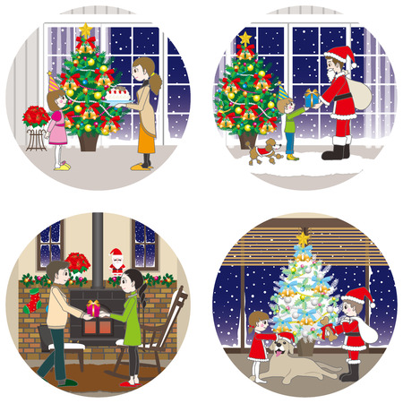 La familia y la Navidad Foto de archivo - 44256537