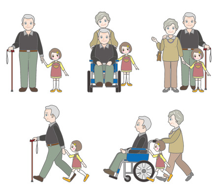 sideways: Grandfather and Family Illustration