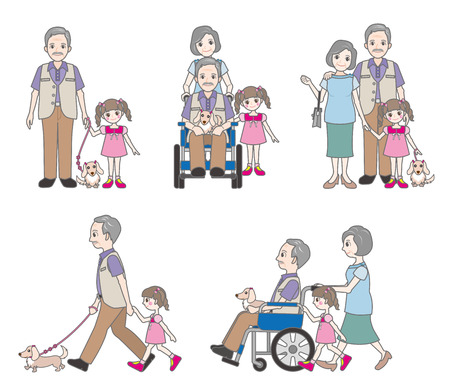 old people in care: Grandfather and Family Illustration