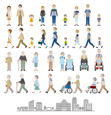 家族: いろいろな人の家族のイラスト  イラスト・ベクター素材