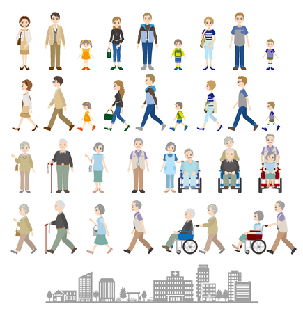 Illustrations of various people Family