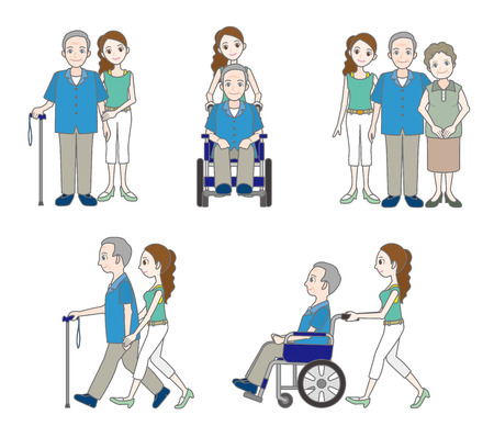 full length woman: Grandfather and Family Illustration