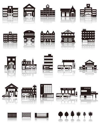 building fire: Building the icon  silhouette Illustration