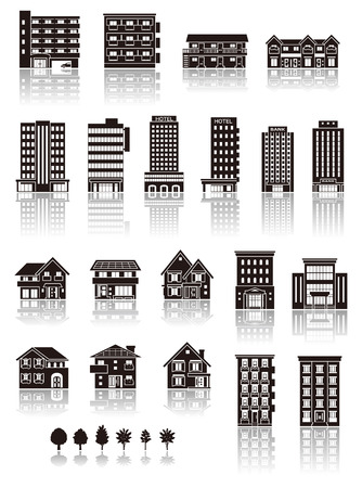 apartment       buildings: Building the icon  silhouette Illustration