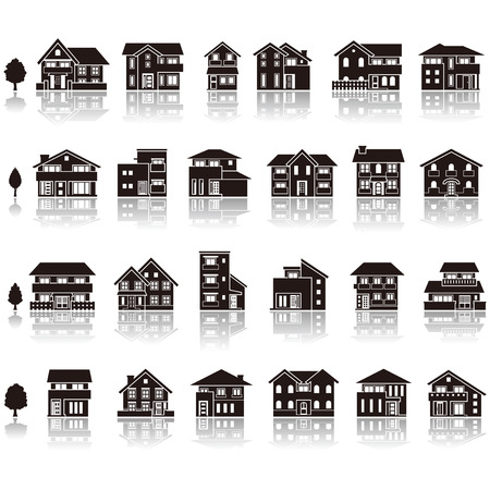 housing estate: Building the icon  silhouette Illustration