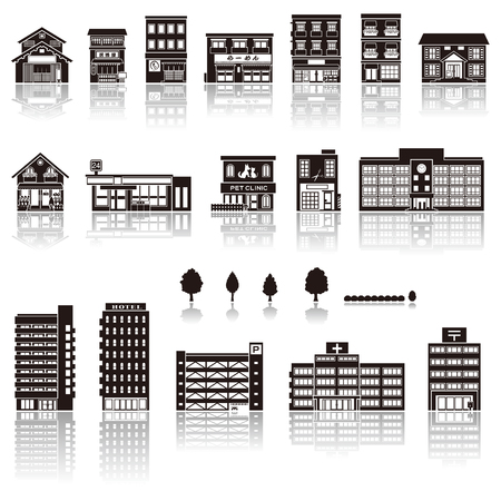 post office building: Building the icon  silhouette Illustration