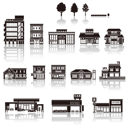shop: Building the icon  silhouette Illustration