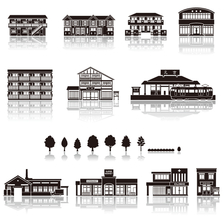house illustration: Building the icon  silhouette Illustration
