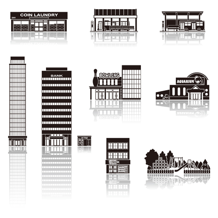 building silhouette: Building the icon  silhouette Illustration