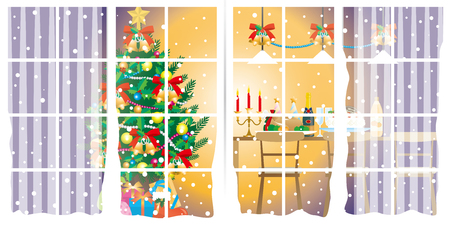 happy family at home: ChristmasChristmas party  Room Illustration