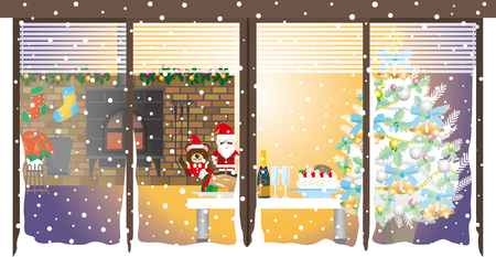fireplace christmas: ChristmasChristmas party  Room Illustration