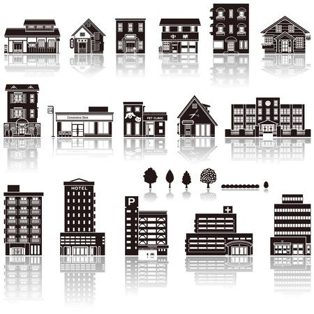 viviendas: La construcción en el icono de la silueta Vectores