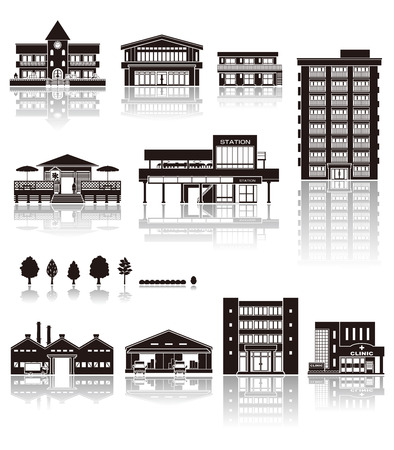 transportation facilities: Building the icon  silhouette Illustration