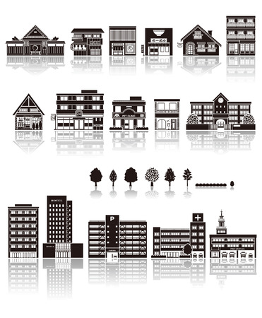 vectors: Building the icon  silhouette Illustration