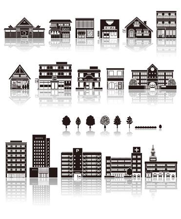building: La construcción en el icono de la silueta Vectores