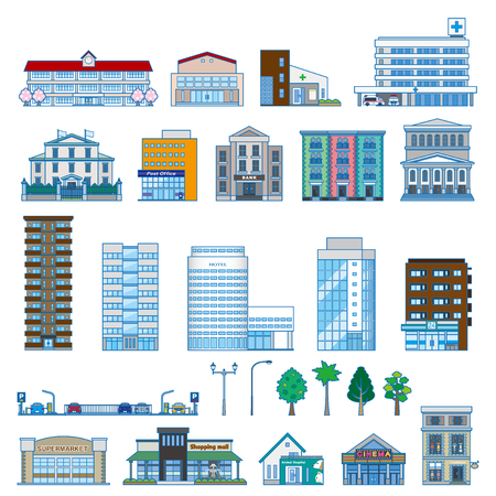 centers: Various building Illustration
