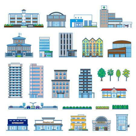 construcci�n: Varios edificio Vectores
