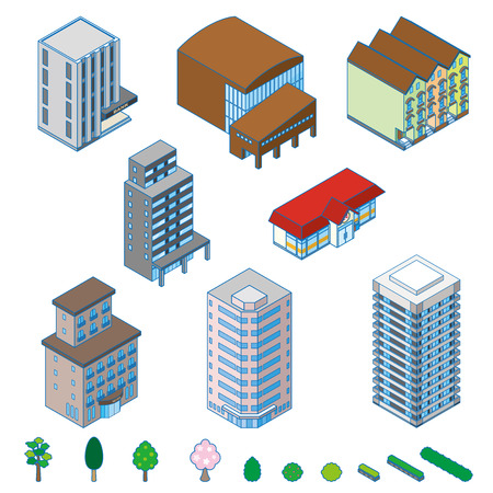 office construction: Various building and Solid figure