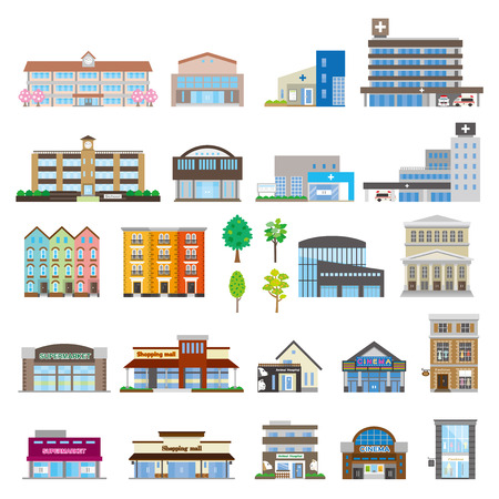 office icons: Various building Illustration