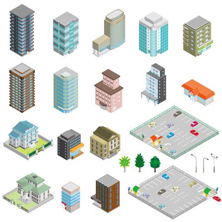 Verschiedene Gebäude und Solid Figur Standard-Bild - 51363027