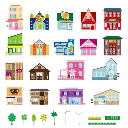 shops: Various building Illustration