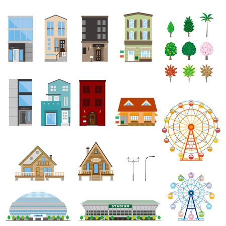 Various building  イラスト・ベクター素材