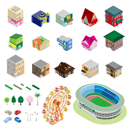 様々 な建物や立体図