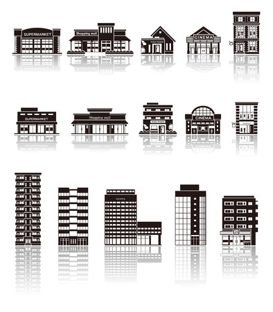 shopping icon: Building the icon  silhouette Illustration