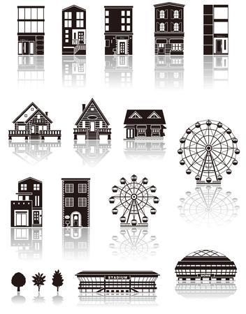 silhouette maison: Construire l'icône silhouette Illustration