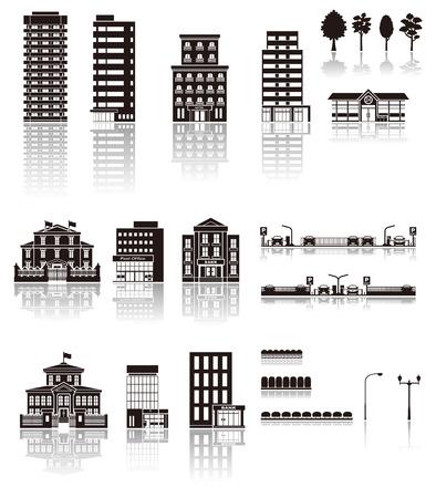 construccion: La construcción en el icono de la silueta Vectores