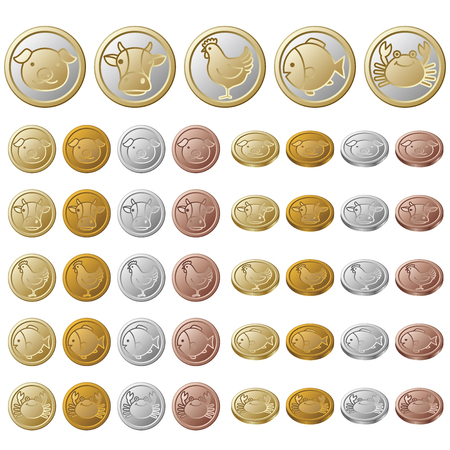gold silver: Coin  Creatures Illustration