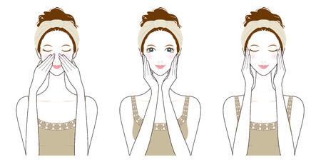 Kobieta pielęgnacji skóry, kosmetyki,