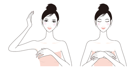 女性の肌ケア、美しさ、リンパ マッサージ、