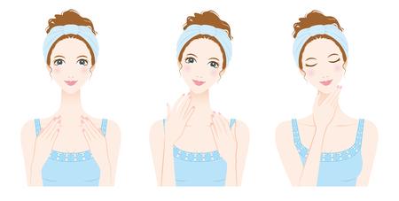 女性のスキンケア、美容  イラスト・ベクター素材