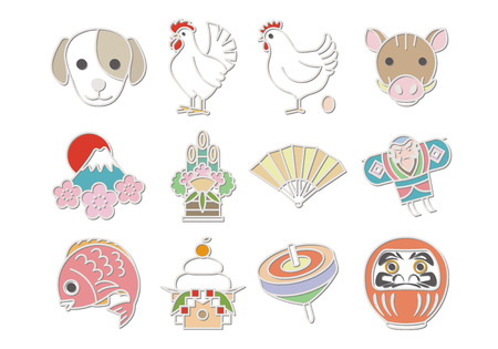 kadomatsu: cute japan icons Illustration