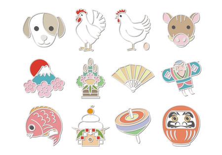 icônes mignon japon Vecteurs