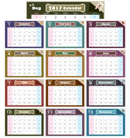 russell: 2017 year dog illustration calendar